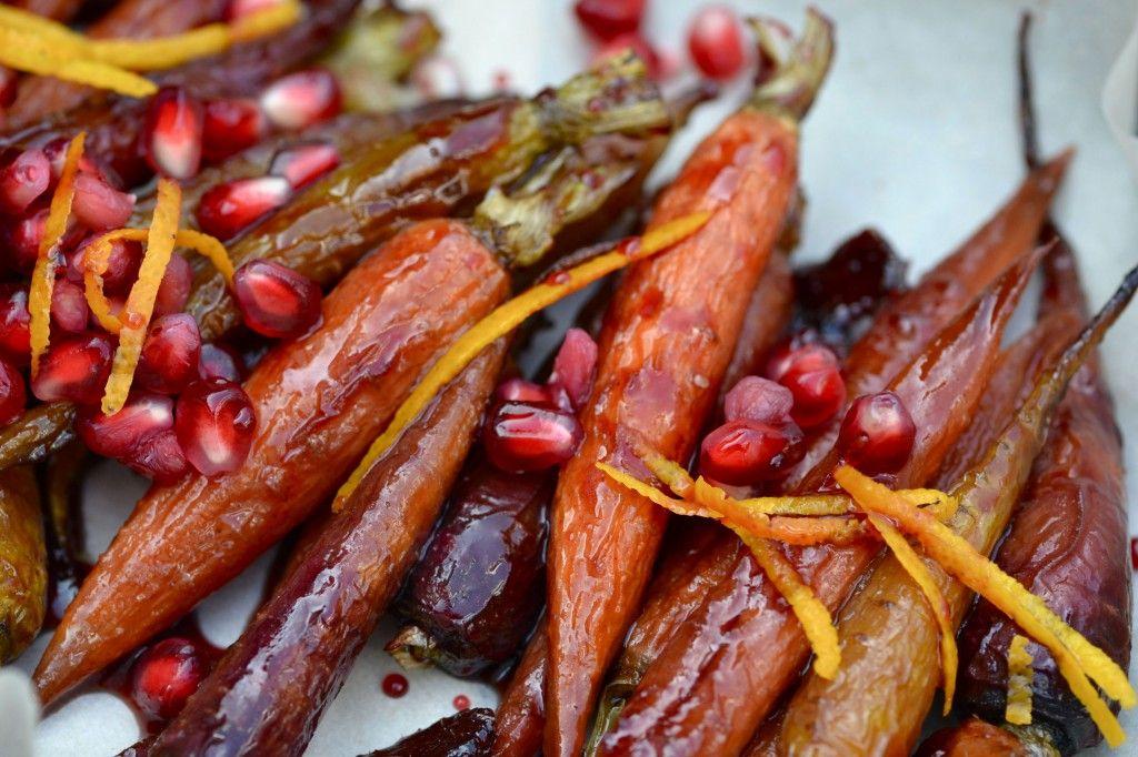 Carrots, pomegranate, pom juice, ginger, orange zest, cinnamon (Simmer 10 min, Bake at 375 for 20 min)
