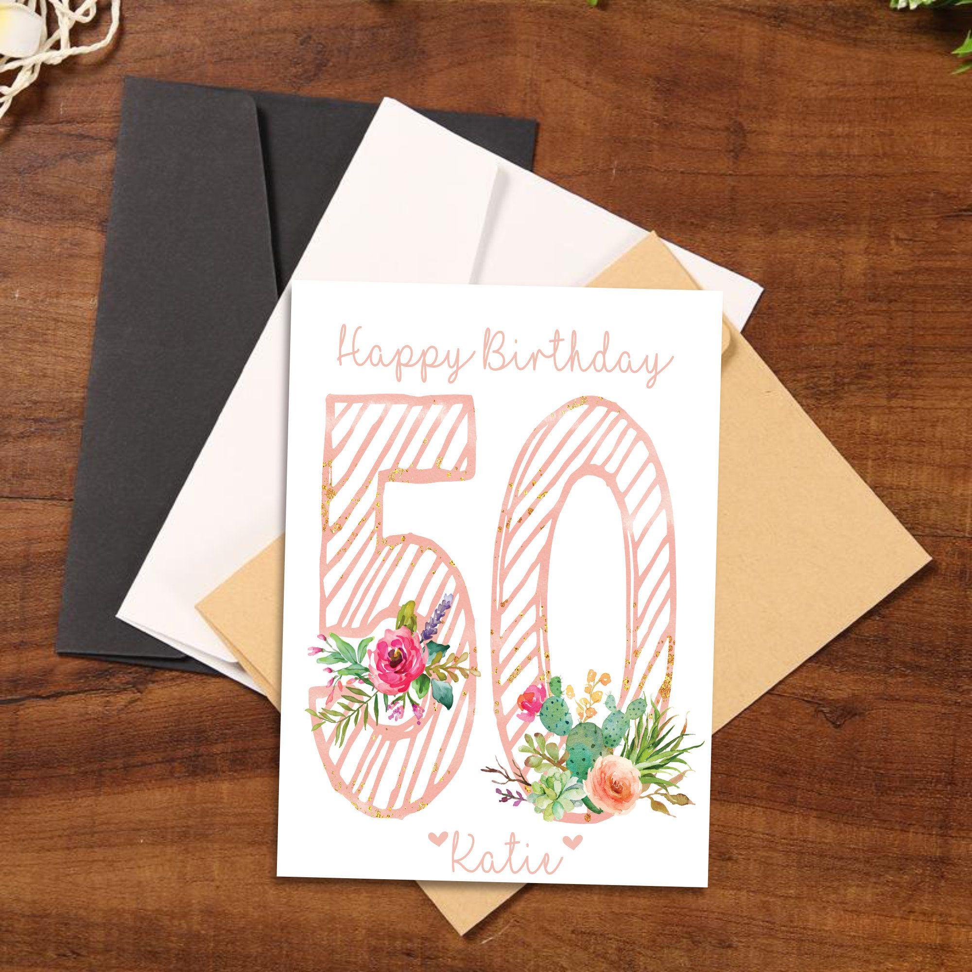 50th birthday card personalized age 50 birthday card