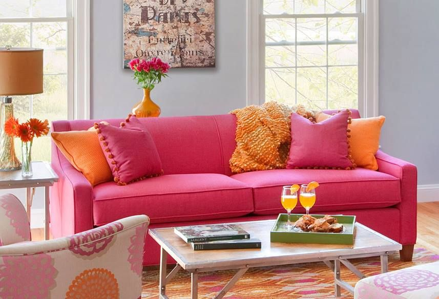 Orange Embraces Hot Pink On The Blake Sofa For A Pleasant Surprise Credit Circle Furniture