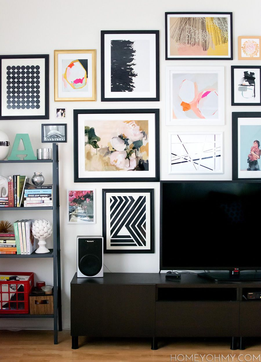 Art gallery wall behind tv