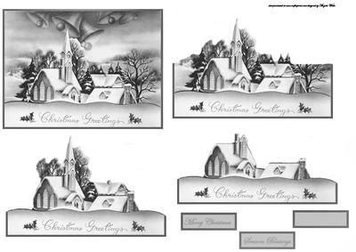 Vintage church scene easy cut decoupage on Craftsuprint designed by Angela Wake - Vintage church scene easy cut decoupage and sentiment tags - Now available for download!