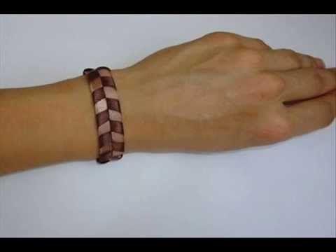 Tutorial Como hacer pulsera de cuero tonos marrones Videos