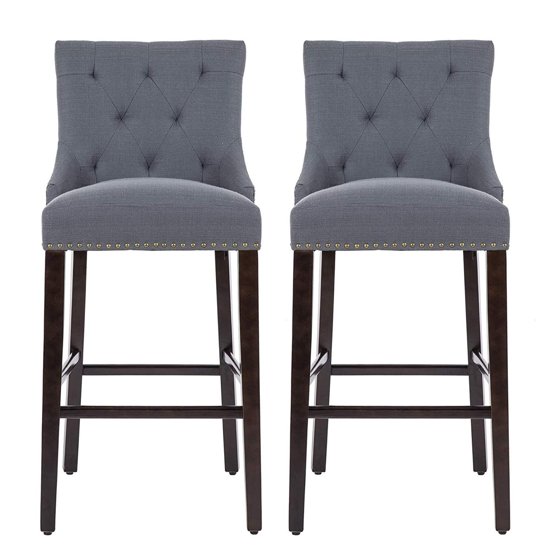 Astonishing Nobpeint 30 Inch Bar Stools With Polished Nailhead Wood Legs Creativecarmelina Interior Chair Design Creativecarmelinacom