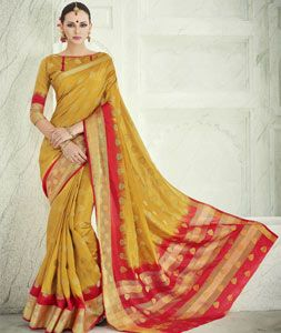 Buy Mustard Banarasi Silk Saree With Blouse 71238 with blouse online at lowest price from vast collection of sarees at Indianclothstore.com.