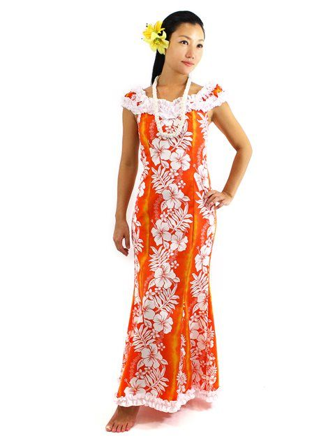 Nahenahe Ruffle Long Muumuu Dress [Hibiscus Fern Panel/Orange ...