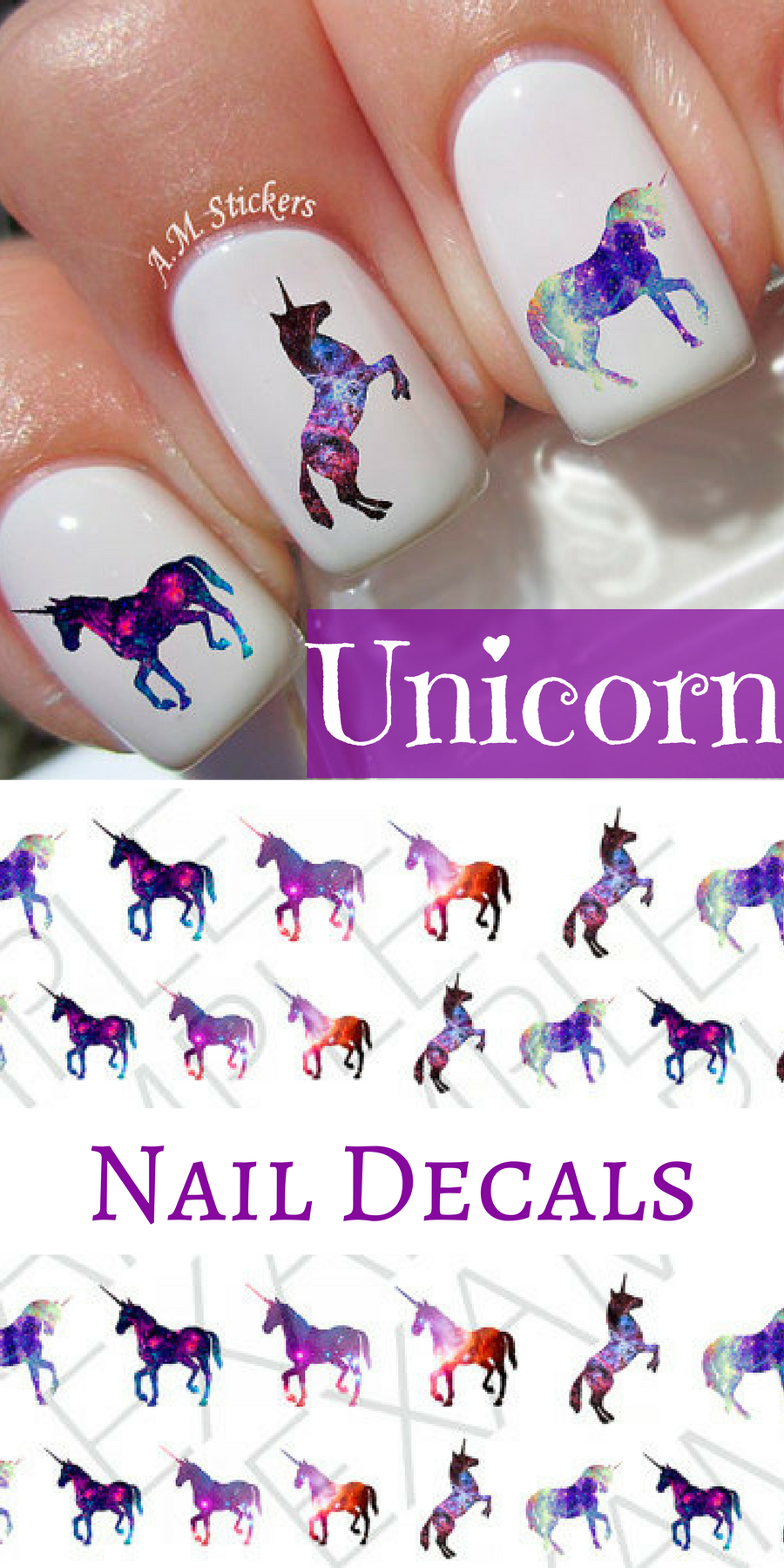 Dreamy galaxy unicorn nail decals. Very pretty, bright Unicorn ...