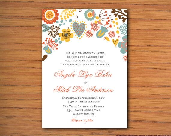 DIY Printable MS Word Wedding Invitation Template W066 by Inkpower - ms word invitation templates