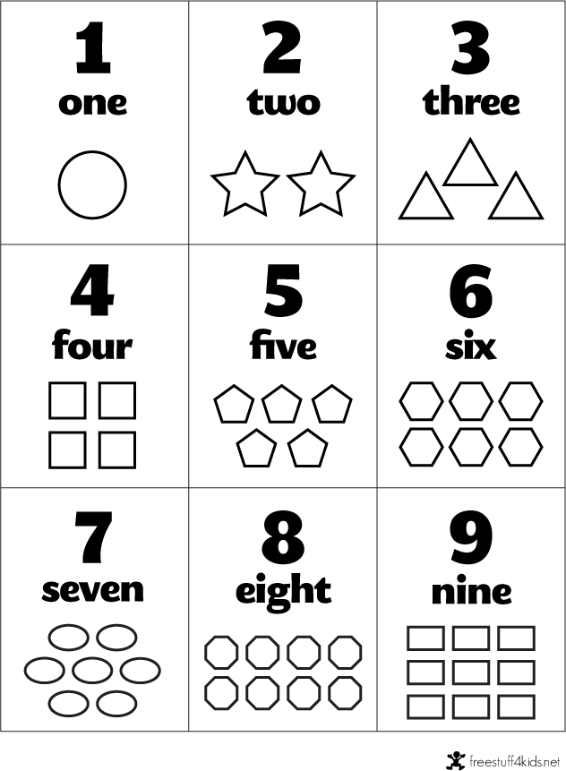 free preschool flashcards numbers and shapes fall ideas