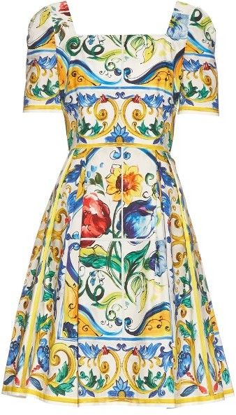 471f1d59 DOLCE & GABBANA Majolica-print cotton mini dress 드레스, 패션 의상, 스타일,