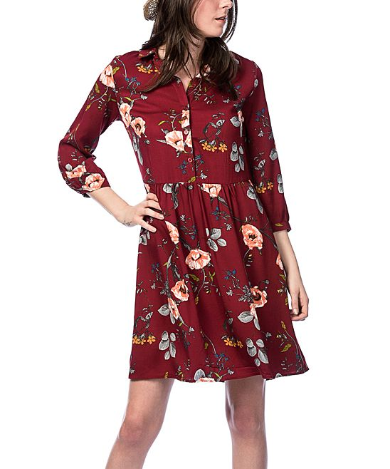 31169e3a57a Bordeaux Floral Button-Front Dress