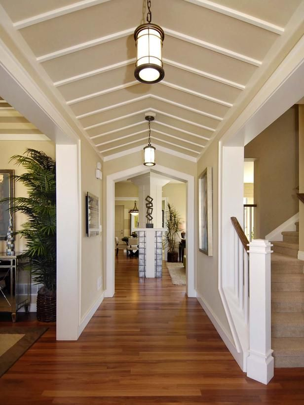 Welcoming Contemporary Hallway A clipped ceiling and pendant