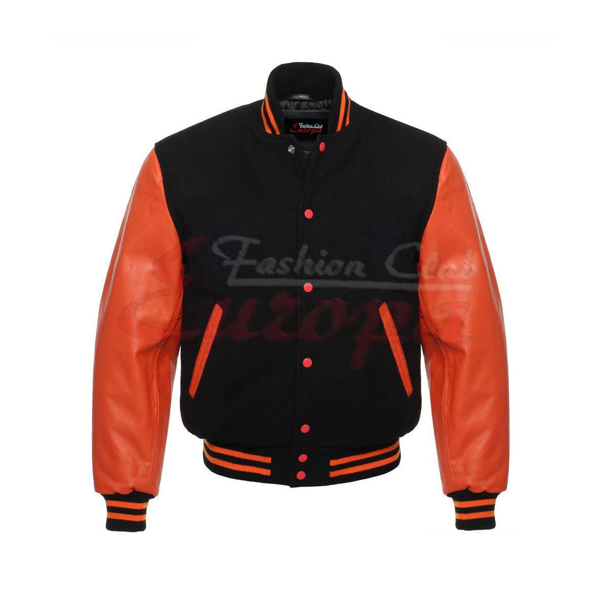 96e9c6343d0661 Black and Orange Varsity Letterman Jacket for Men (Sale)