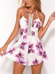 b7ec3e01979 White Lavender Summer Flower Print Cutout Lace Playsuit Romper