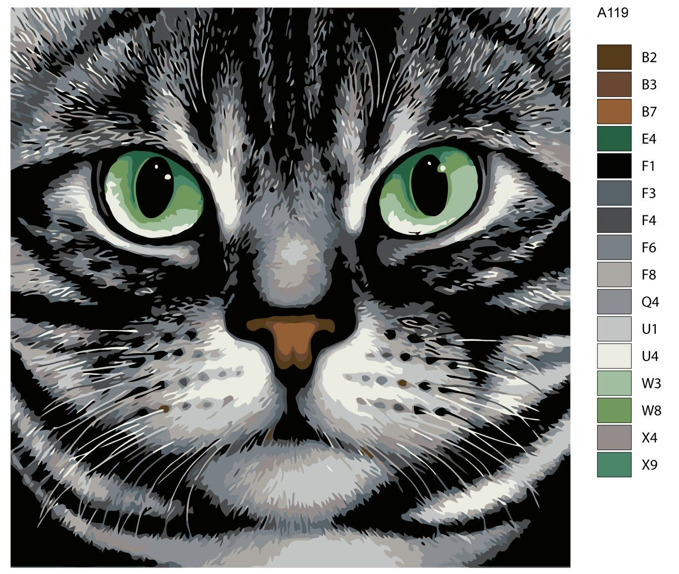 Cats painting / DIY paint by number kit / painting kit
