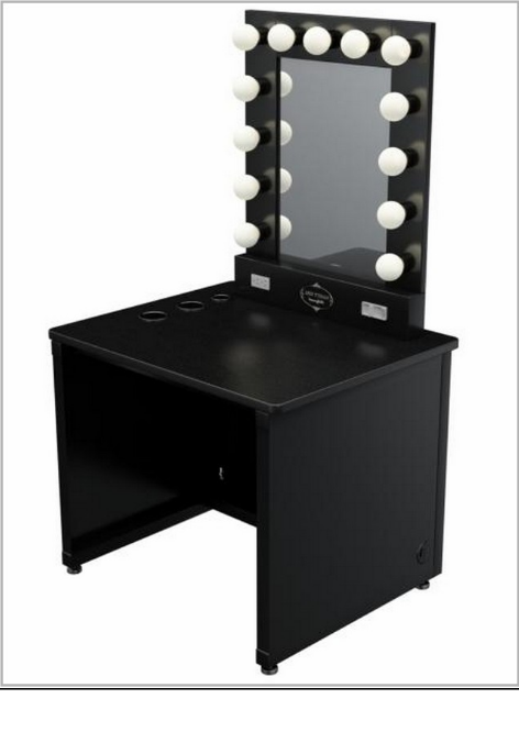 lighted vanity table has two colors black and white with 13 bulbs which have a great lighting to put on a make up - Black Vanity Set