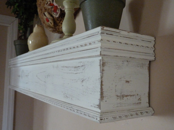 Cottage Chic White Mantle 48 L Distressed Shelf Mantel Farmhouse Floating Mothers Day Gift