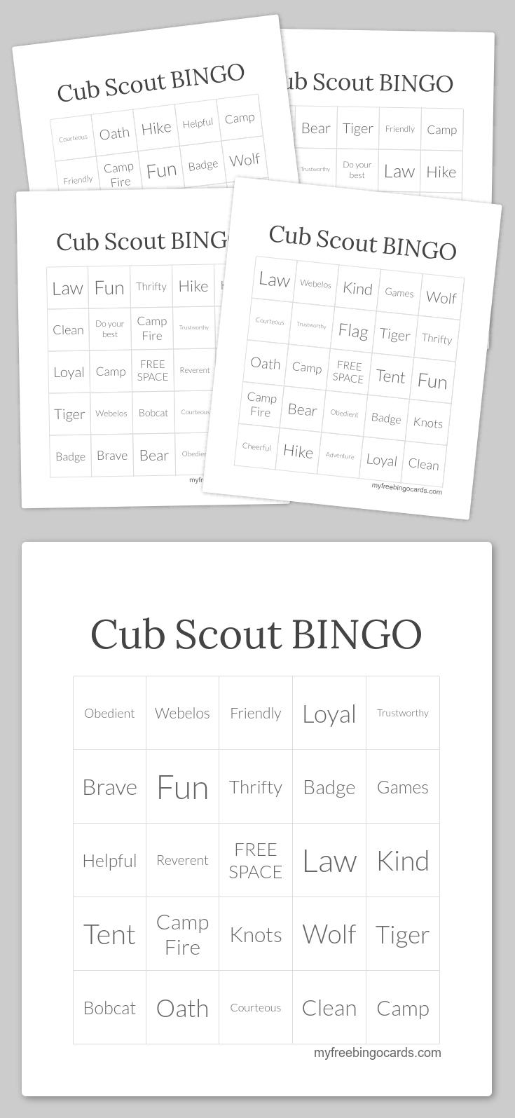 Free Printable and Virtual Bingo Cards