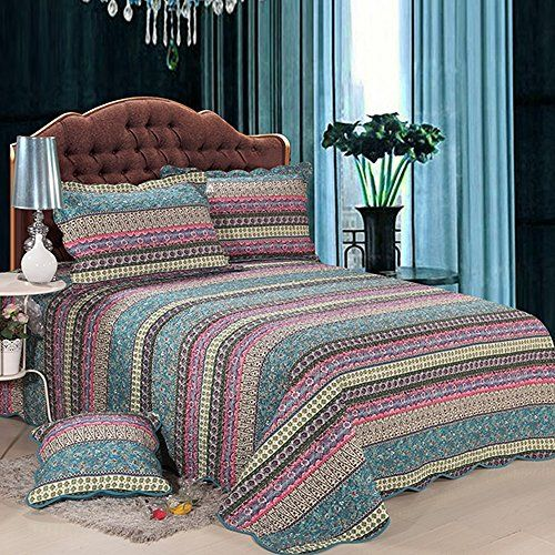 Alicemall Boho Bed In A Bag Purple Flower Print Stripes Cotton