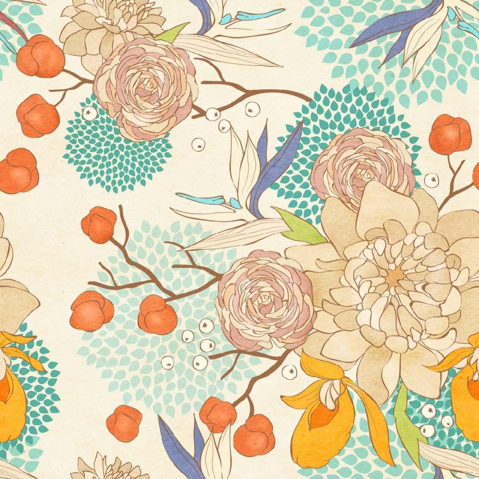 Papel Mural Flores Colores Pasteles Print Paper Texture