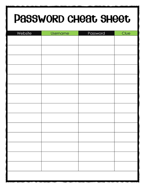 Free Blank Password Cheat Sheet - I'M Not Sure About You, But I