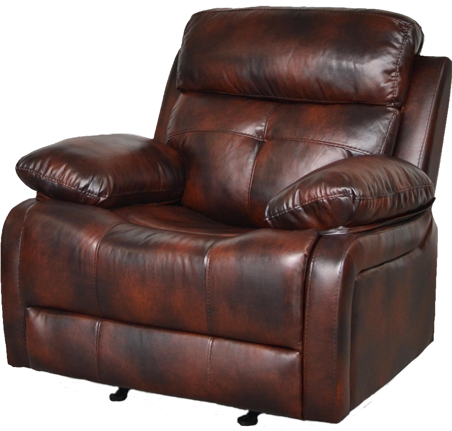 Aria Rocker Recliner Auburn Brown Faux Leather Recliner