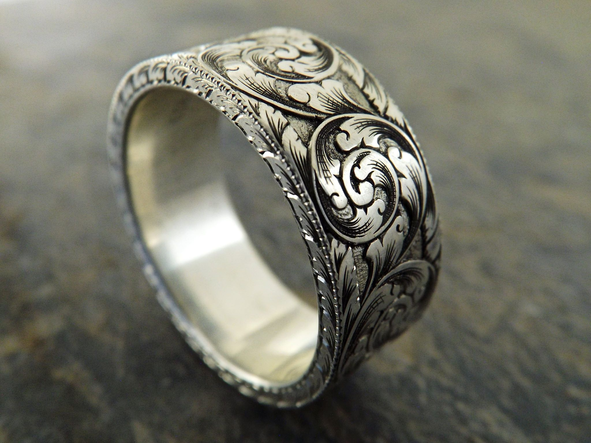 customized rings band tone ambrosia wedding engraved toned products two vintage matching