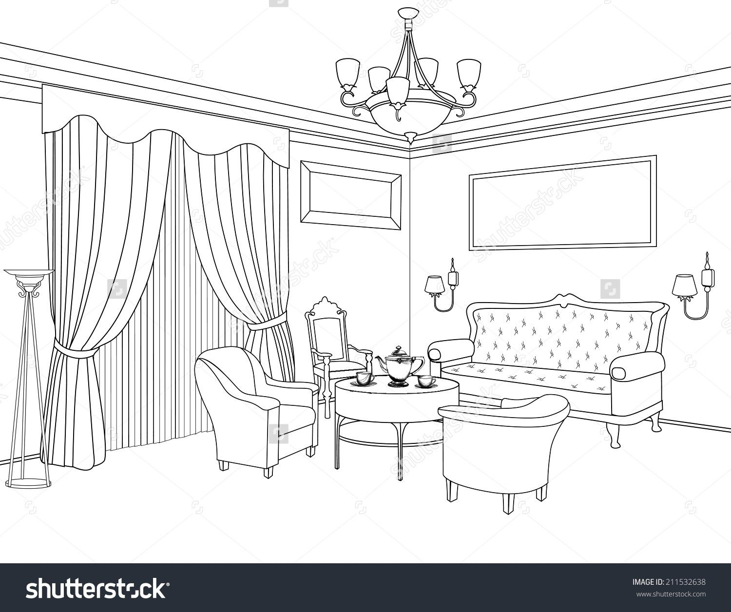 Interior Design Sketches Living Room Dining Room Stock Vector Inte