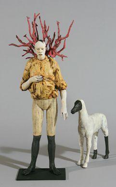 yellow - man with dog - Cristina Córdova - figurative sculpture