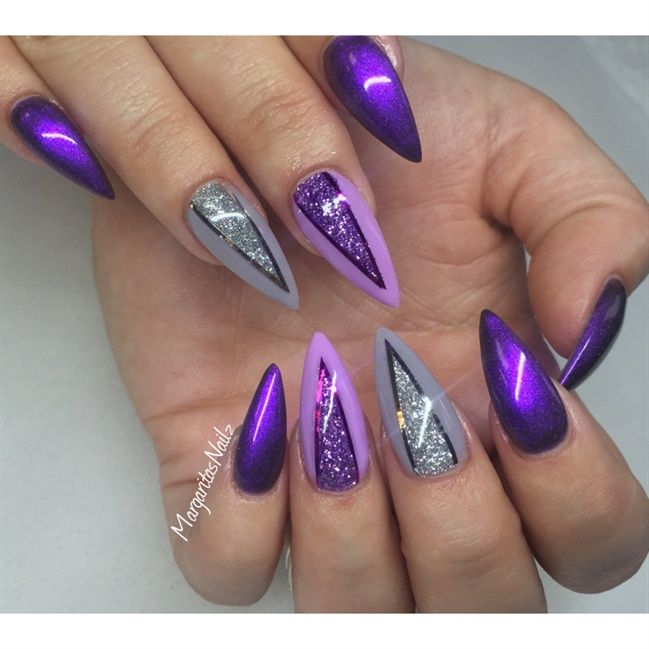 Purple and grey | Nails | Pinterest | Gray, Stilettos and Nail nail