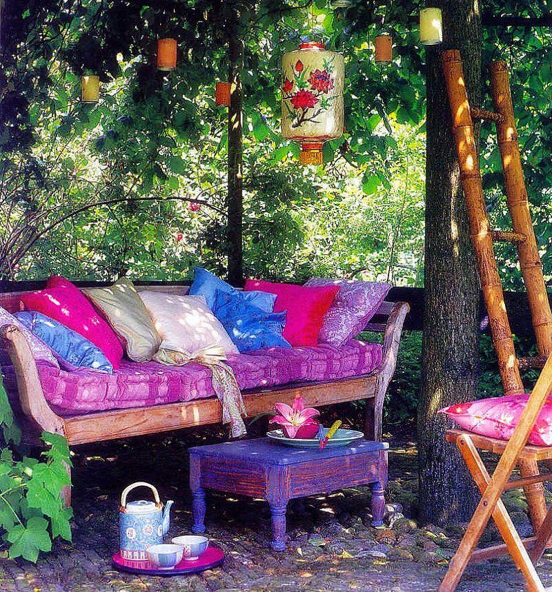 37 Beautiful Bohemian Patio Designs: Garten, Balkon And