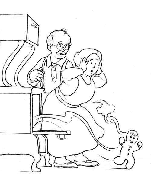 running gingerbread man coloring page | This coloring page is ...