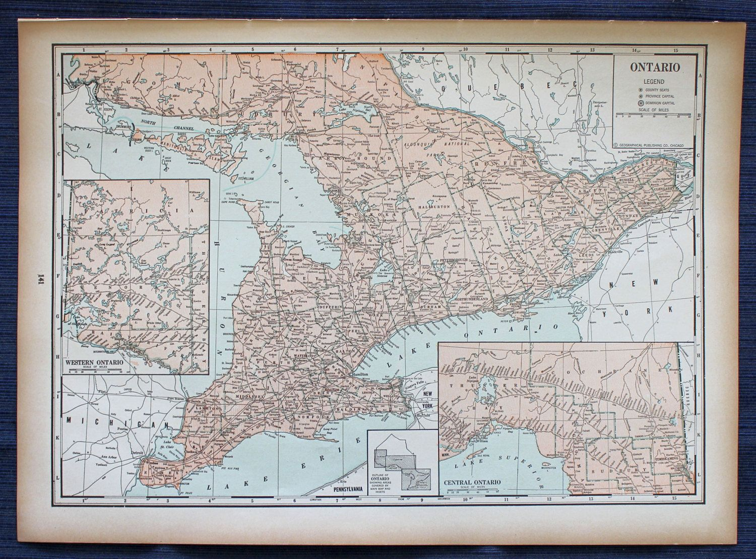 Ontario map or quebec map large map 1941 new international atlas 1941 ontario map or quebec map large map new international atlas of the world vintage by passinthrutime on etsy gumiabroncs Images