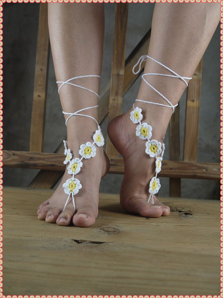 white gipsy anklet thong bottomless yoga crochet shoes sexy barefoot jewelry victorian toe beach wedding products pool sandals feet hippie nude