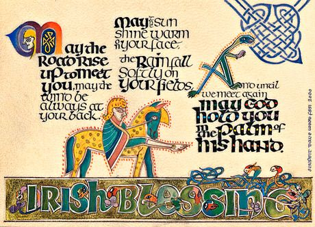 Irish Blessing Celtic Calligraphy Print By Dave Wood