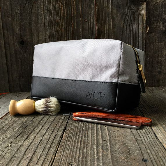 Personalized Dopp Kit - Mens Toiletry Bag - Groomsmen Gift - Leather Dopp  Kit - Gray   Black 5bf7c45cb0024