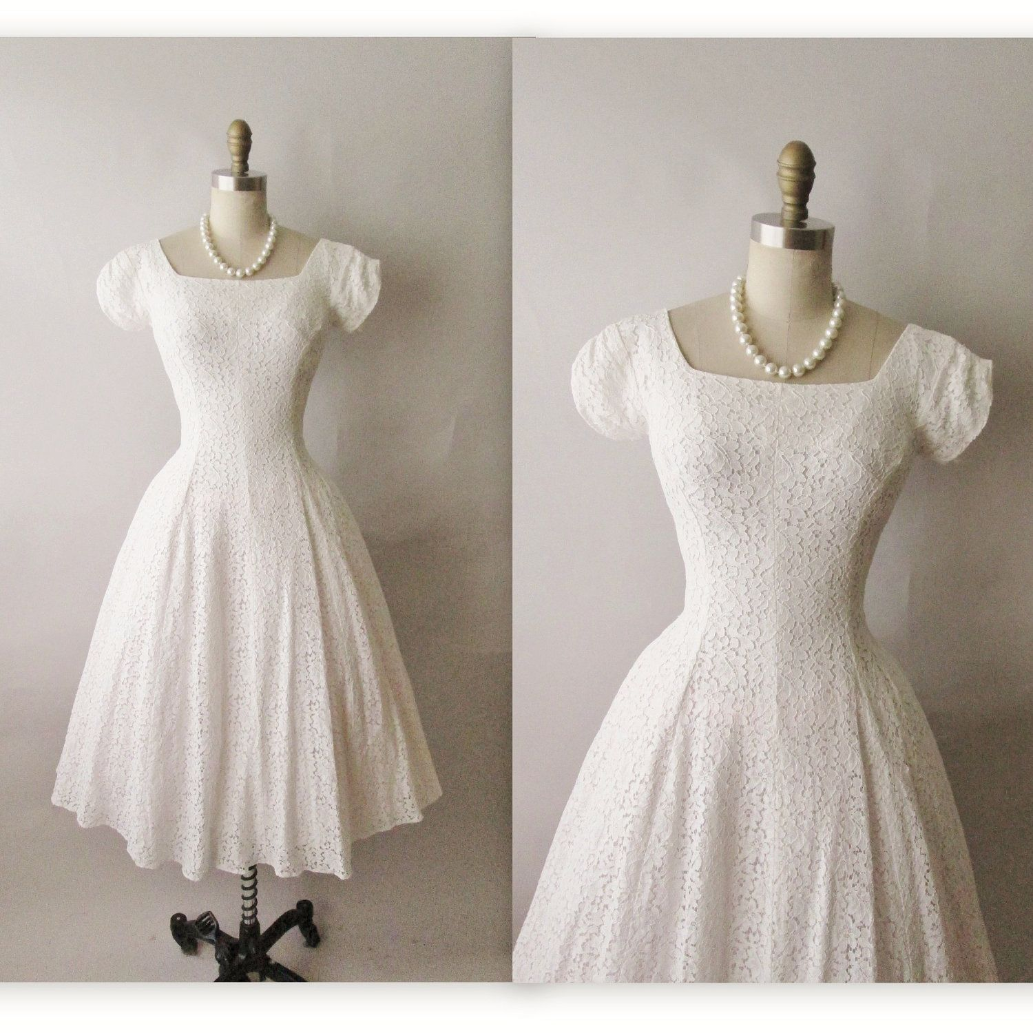Vintage Wedding Dress Xs: 50's Wedding Dress // Vintage 1950's White Lace Wedding