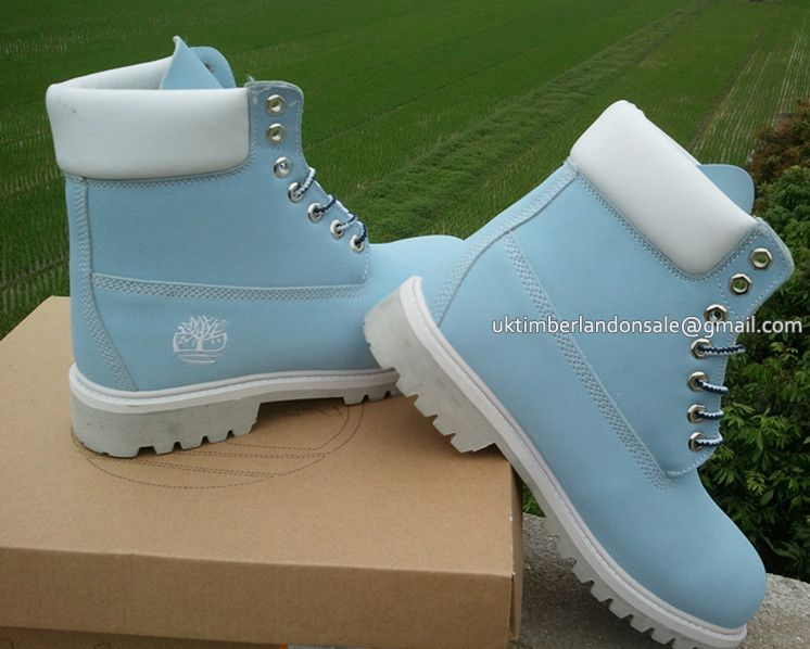 Timberland Men's 6 Inch Boots Baby Blue White