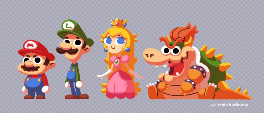 Mario, Luigi, Princess Peach and Bowser by Justin Chan | Super ...