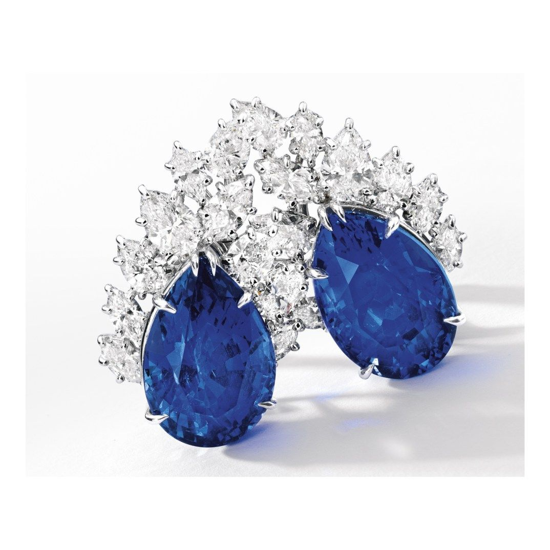 A pair of Sapphire and Diamond Earclips by Harry Winston