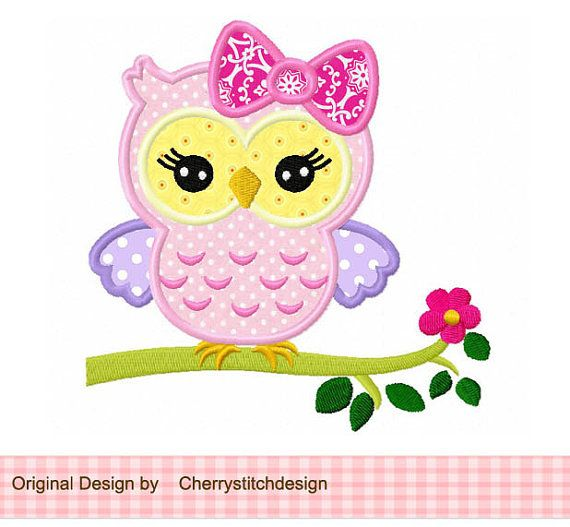 Cute girly owl on a limb,owl girl,owl with flower digital applique -for  hoop-Machine Embroidery Applique Design