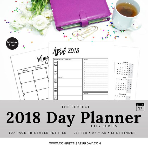 2018 Planner Refill Printable Planner Pages Insert Planner