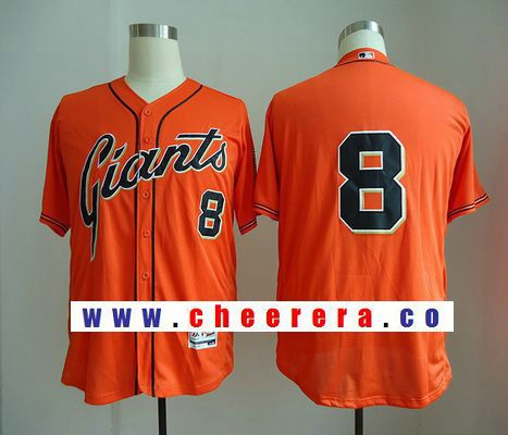 a4e4dbf79 Men s San Francisco Giants  8 Hunter Pence No Name Orange Stitched MLB Majestic  Flex Base Jersey
