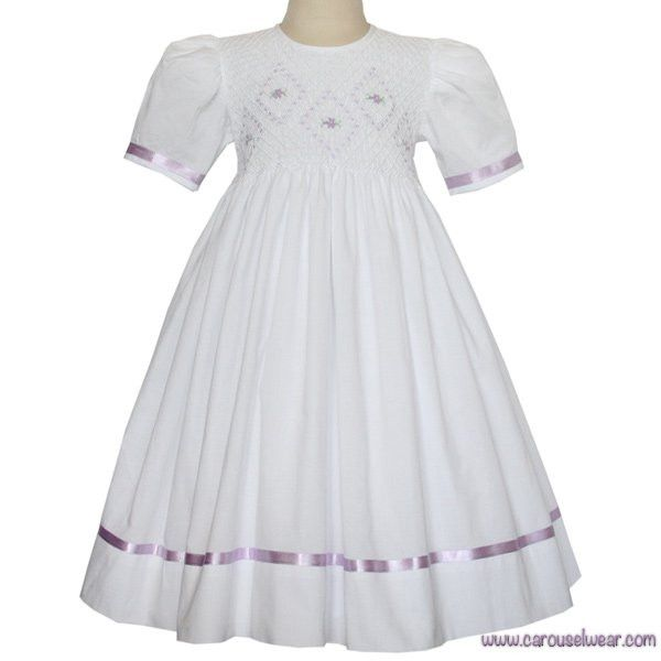 Grace Girls Classic Easter White Smocked Dress and Lavender Ribbons – Carousel Wear