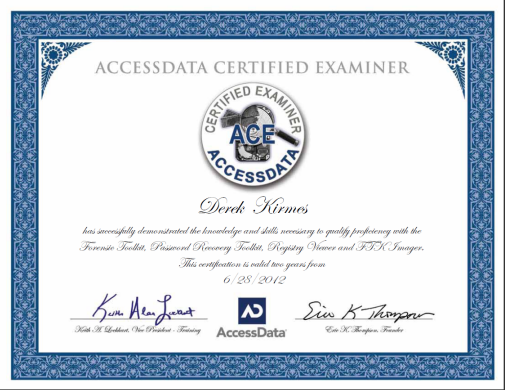 derek kirmes awarded ace computer forensics certification | news to ...