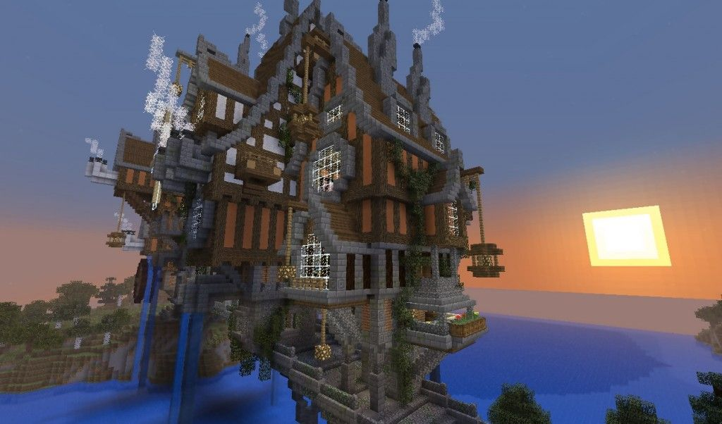 Steampunk Minecraft Bridge Side Minecraft Houses