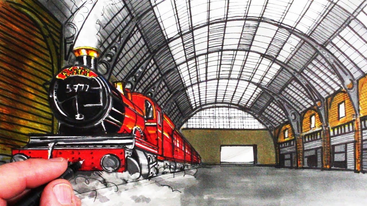 How To Draw A Train In Perspective Draw Hogwarts Express