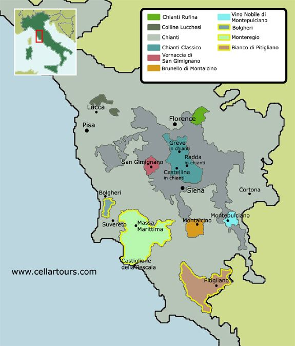 Tuscanys Best Wineries Famous Wines Chianti Vino Nobile Di - Italy map tuscany area