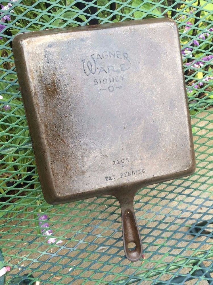 "RARE 9"" Square Vtg Wagner Ware Cast Iron Bacon Press Skillet Griddle Pan 1103D"