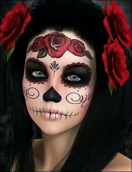 Spooky Floral Skull Halloween Make Sugar Skull Makeup Dead Makeup