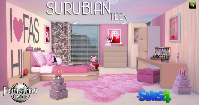 sims 4 ccu0027s the best teen bedroom set by jomsims - Teen Bedroom Sets